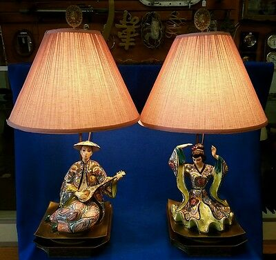 Antique Porcelain & Brass Oriental Lamps Pair of 2 Lamp Circa 1930's