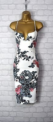 ~CHELSEA~ White Floral Bodycon Evening Midi Pencil Wiggle Party Dress 8 10 12 14
