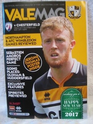 PORT VALE v CHESTERFIELD PROGRAMME 30/12/16  *MINT
