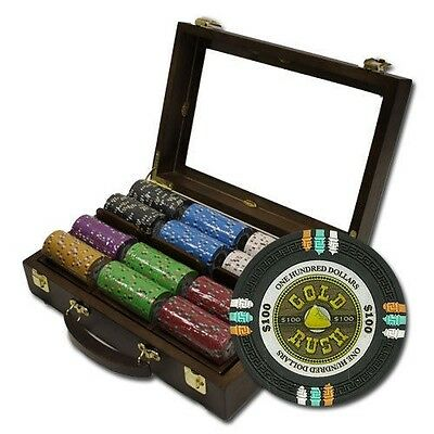 "300 ct ""Gold Rush"" 13.5g Poker Chips Set in Walnut Wooden Case See Thru Lid"
