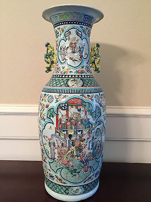 Large 19th century Canton Export Famille Rose Vase of Baluster Form
