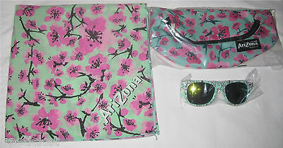 arizona GREEN TEA accessory lot of 3 - FANNY PACK + BANDANA + SUNGLASSES last 1!
