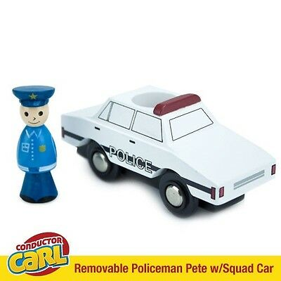 Policeman Pete Squad Car & Removable Character Compatible w/ Wood Train Sets