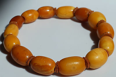 ANTIQUE BALTIC AMBER BRACELET 8.8 GR. BEESWAX COLOR. Amber777.com