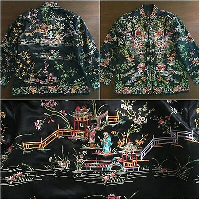 Exquisite Chinese Embroidered Black Silk Jacket Blouse Robe Embroidery Textil