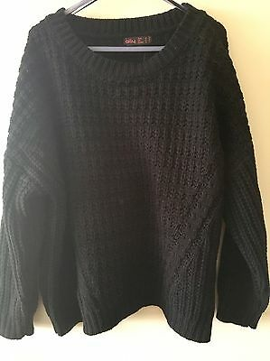 Brand New With Tags Ally Fashion Diagonal Panel Chunky Knit Jumper Size M