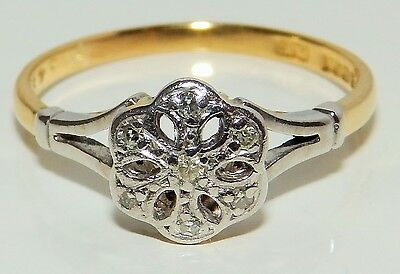 Vintage 18Ct Yellow Gold Platinum  Diamond Daisy  Cluster Engagement  Ring