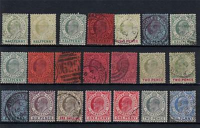Gibraltar 1903 1904 to 1912 Used+5xMint KEVII Incl 2 1/2p (21 Stamps)[A1591]