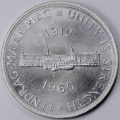 UNCIRCULATED 1960 South Africa Silver 5 Shilling Coin R2CC