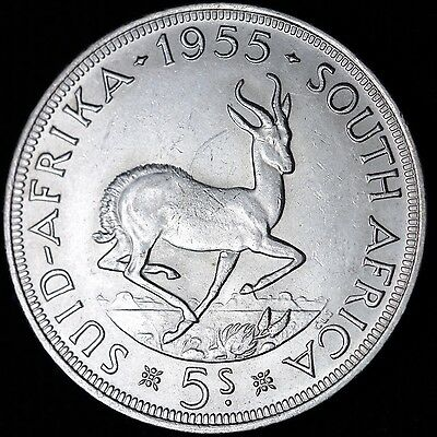 AU 1955 South Africa Silver 5 Shilling R2CE