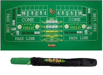 RollOut Gaming Portable Casino Craps Table Top Roll-Up Mat w/ Carrying Case
