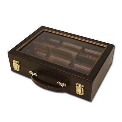 300 Ct Walnut Wood Poker Chip Case Felt Lining, See-Through Lid (No Chips/Cards)