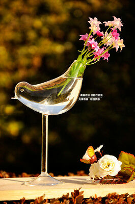 Bird Crystal Glass Clear Flower Plant Vase Hydroponic Container Home Decor