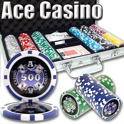 300 Ct Ace Casino 14 Gram Poker Chips, 2 Card Decks, 5 Dice, Dealer Button