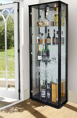 Double Display Lockable Glass Display Cabinet Unit In Black, Silver