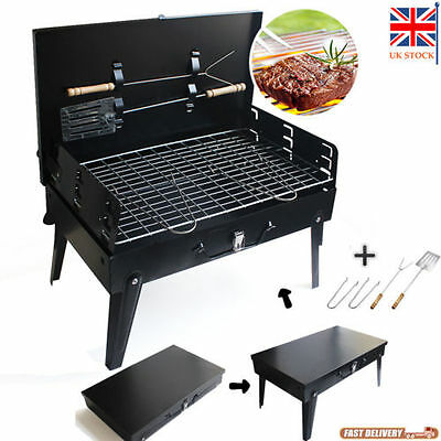 Folding BBQ Barbecue Grill Charcoal Outdoor Garden Kitchen Camping Gas Cooking