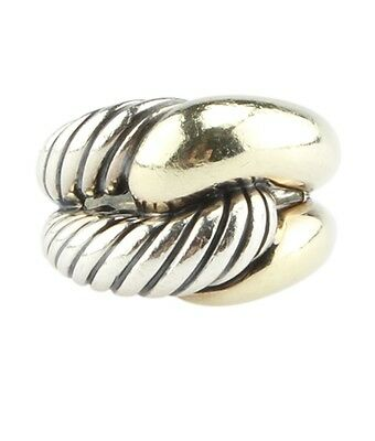 David Yurman Sterling Silver & 18K Knotted Cable Ring, Size 6