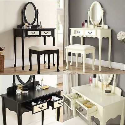 Dressing Table With Stool Chair & Oval Mirror 2 Mirrored Drawers Cushion Seat