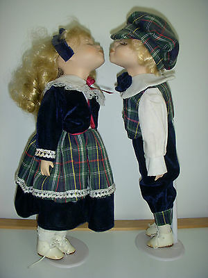 Set of 2 Hand Crafted kissing Dolls