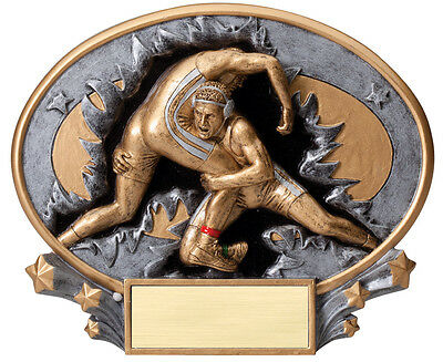 """male wrestling trophy, plaque, with engraving, about 7"""" W, stands or hangs"""