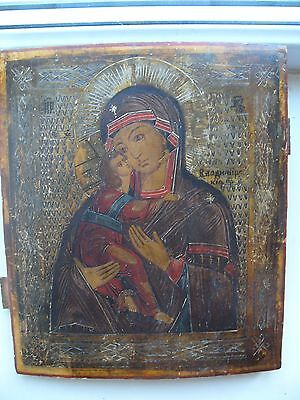 """Antique 19c Russian Orthodox Hand Painted Wood Icon """"Our Lady of Vladimir"""""""
