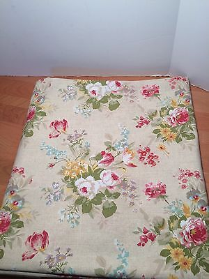 LAURA ASHLEY HOME Floral ROSES Rectangle TABLECLOTH Sage Tan POLY COTTON 60 X 82