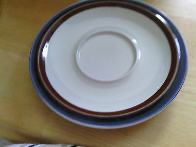 """IMPERIAL STONEWARE ~ Brown & Navy Band Saucer 6-1/2"""" MW-150 Imperial Blue"""