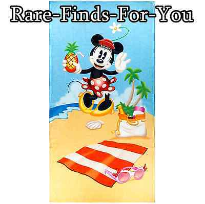 Disney Parks Minnie Mouse Day At The Beach Soft Cotton Towel 64''H x 34''W (NEW)