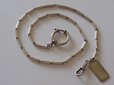 """Antique Sterling Silver Pocket Watch Chain Bolt Ring Clasp Necklace 17"""" 23.2g"""