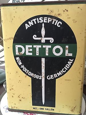 Vintage Early Australiana Dettol Antiseptic Tin One Gallon Large Advertising