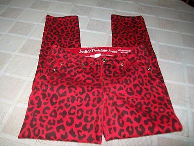 Justice Red Black Cheetah Designed Jeans Size Girls 10 EUC