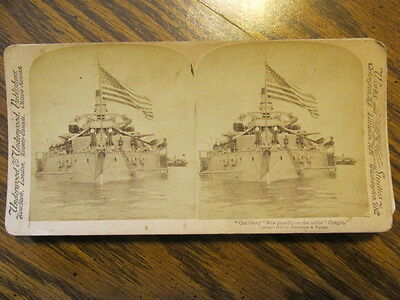 Old Glory On The Oregon Ship Wwi Stereo View Card Stereoview