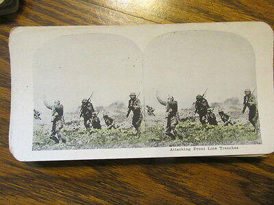 Attacking Front Line Trenches  Wwi Stereo View Card Stereoview