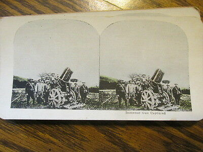 Immense Gun Captured  Wwi Stereo View Card Stereoview