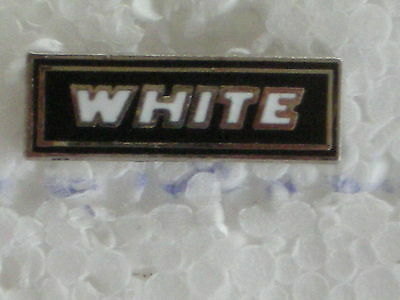 WHITE TRUCKS PIN BADGE  SIZE 7/8 in. HARD FIRED PORCELAIL