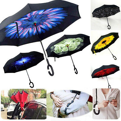 Upside Down Reverse Umbrella C-Handle Big Double Layer Inverted Windproof Design