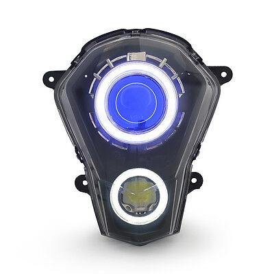 KT LED Halo Angel Demon Eyes Headlight Assembly For KTM Duke 390 2013-2016 Blue