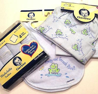 Gerber 8-PC SET/LOT Baby BOY Infant BLUE (2-Hats 2-Bibs 4-Washcloth) FUNNY FROGS