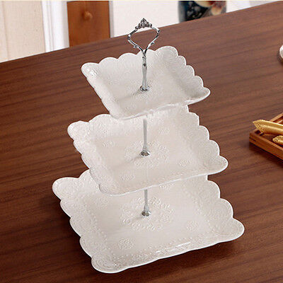 1 Set 2/3 Tier Cake Plate Stand Handle Cupcake Crown Fitting Metal Wedding Party