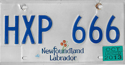 2013 Newfoundland And Labrador Canada Pitcher Plant License Plate # Hxp 666