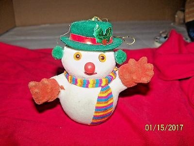"""vintage christmas snowman figural ornament green hat 3"""" tall details"""