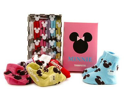 Trumpette Minnie Mouse Silhouette Baby Girl Disney Socks 0-12m 6 Pairs