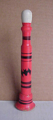 """Vintage 7-1/2"""" WHISTLE Hand-Crafted Hand-Painted Wood w/Halloween Bat (w3)"""
