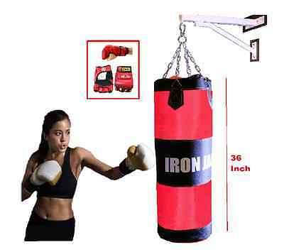 Iron Jack Heavy Boxing Bag  BLK Wall Mount, Chains & MMA UFC Gloves SET NEW