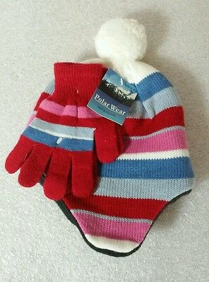 Polar Wear Girls Winter Knit Beanie Hat & Gloves Set