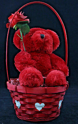 Valentine Red Bear Red Basket with Red Rose Dan Dee