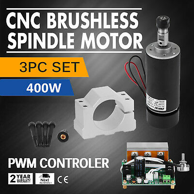 CNC 400W Brushless Spindle Motor 3pcs Set Mount Electric For Engraving GREAT