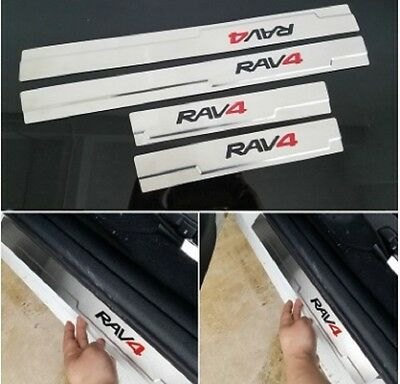 4x Door Sills Scuff Plate Guards for Toyo* Rav4 2014, 2015, 2016