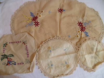Vintage Traced Linen Doileys X4 Stamped Embroider to Complete