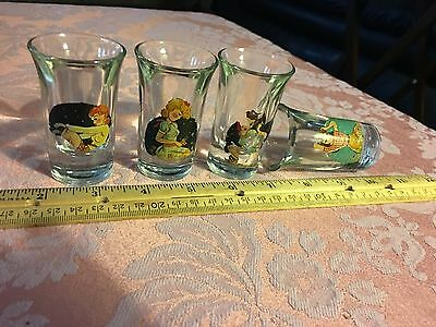 Vintage Risque Pin-up Nude/Strip Double Sided Decal Shot Glasses Lot Of 4